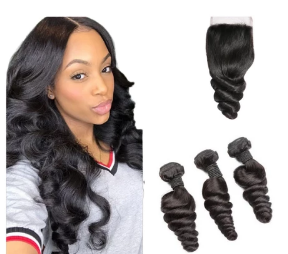 Human Hair Loose wave 3 bundle with human hair lace closure - Elise Beauty Supply