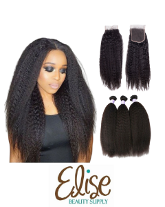 Kinky Straight 3 Bundles with lace Closure - Elise Beauty Supply