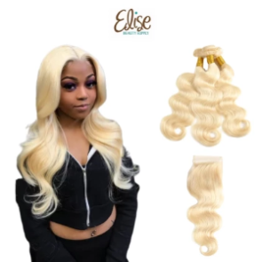 3 Bundles Deal with 4x4 Closure Blonde human hair weaveBody wave - Elise Beauty Supply