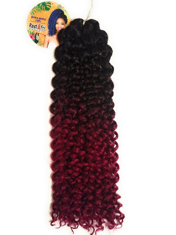 RastAfri Crochet Braid Bora Bora Curl, 1B/Fuchsia - Elise Beauty Supply