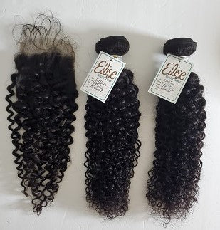 3 Bundles with Lace Closure Curly Human Hair