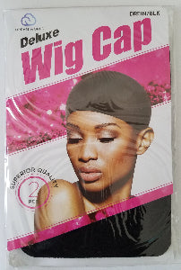 Black Deluxe Wig Stocking Cap 2 pcs. - Elise Beauty Supply