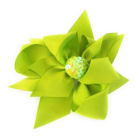 Girl's Hair Bows Green Sequin Ball Ribbon - Elise Beauty Supply