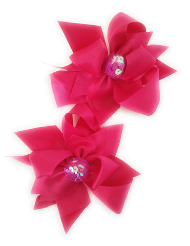 Girl's Hair Bows Hot Pink Sequin - Elise Beauty Supply