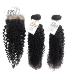 Indian Curly Human Hair Extensions with lace closure