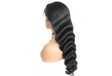 Side View long black wavy human hair wig- Elise Beauty Supply