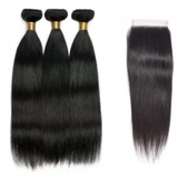 Peruvian Straight Human Hair 3 Bundles with Closure - Elise Beauty Supply