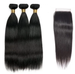Human Hair Peruvian Straight 3 Bundles with Closure - Elise Beauty Supply