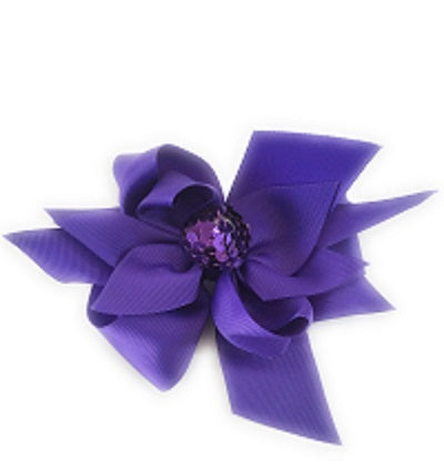 Girl's Purple Hair Bow Sequin Ball - Elise Beauty Supply