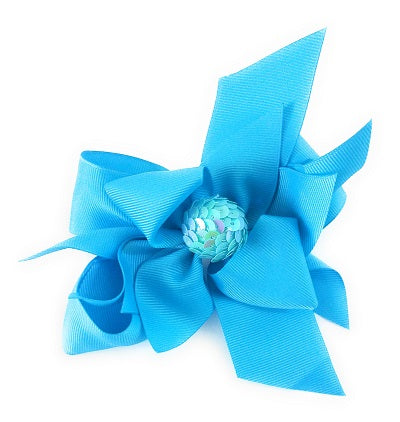 Girl's Hair Bows Turquoise Sequin - Elise Beauty Supply