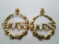 BOSS Earrings Bamboo Clip-on closure 3 inch, Gold-tone
