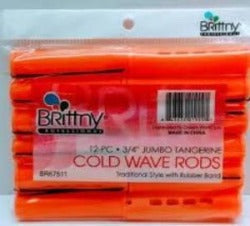 Brittny Jumbo Tangerine Cold Wave Rods - Elise Beauty Supply
