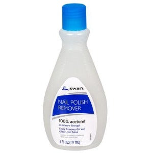 Swan nail polish remover 100% acetone Maximum strength 6 fl. oz.