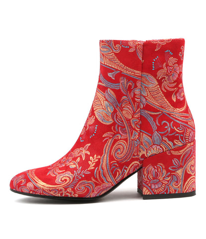BOSCA ANKLE BOOTS IN RED PAISLEY LEATHER