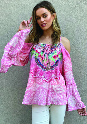 EMBELLISHED BOHO TOP PINK