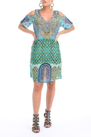 MARRAKESH COLLECTION COLD SHOULDER V-NECK DRESS