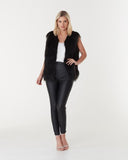 WINDSOR FAUX FUR VEST IN BLACK