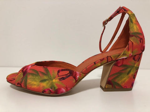 PETULA ORANGE FLAMINGO FABRIC HEEL
