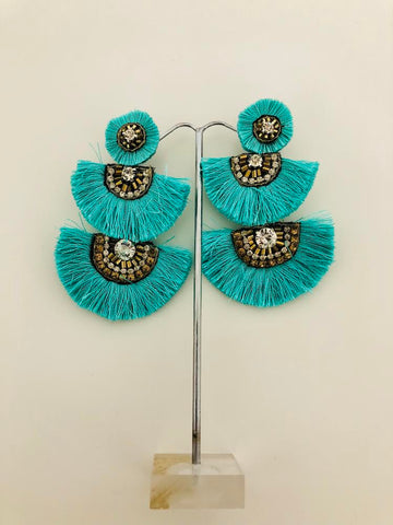 MOROCCON STYLE FRINGE STUD EARRINGS 3 TIER