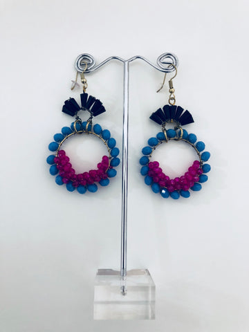 BOHO BEADED HOOP STYLE EARRING BLUE