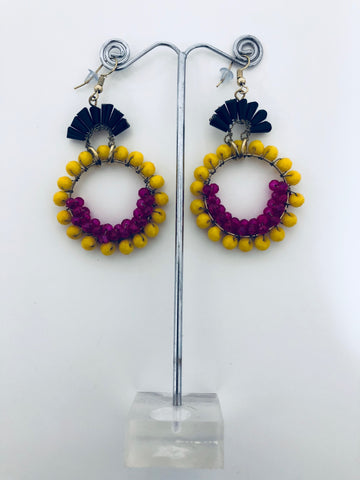 BOHO BEADED HOOP STYLE EARRINGS YELLOW