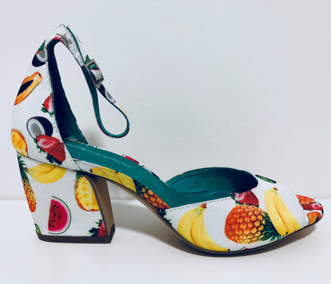 PETULA WHITE FRUIT SALAD LOW HEEL