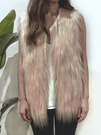 WINDSOR FAUX FUR VEST IN LATTE