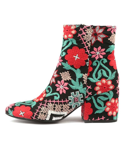 BOSKIE ANKLE BOOTS IN RED MULTI FABRIC