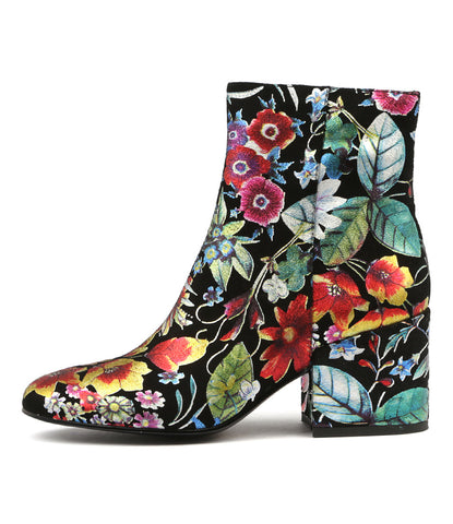BOSCA ANKLE BOOTS IN BRIGHT FLORAL LEATHER