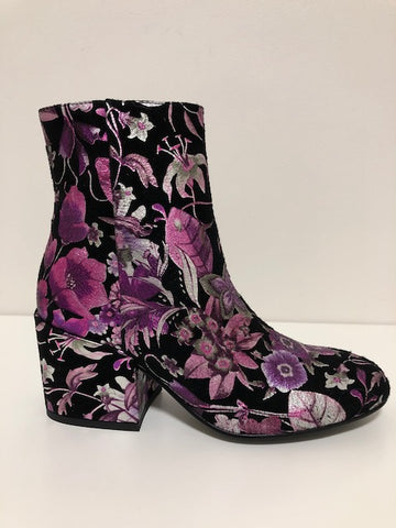 BOSCA ANKLE BOOTS IN PURPLE FLORAL