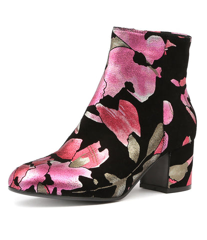 NULULU ANKLE BOOT IN RASPBERRY FLORAL LEATHER