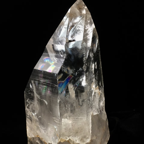 Partially Polished Lemurian Self Standing Point- Super Clear Channeller with Rainbows