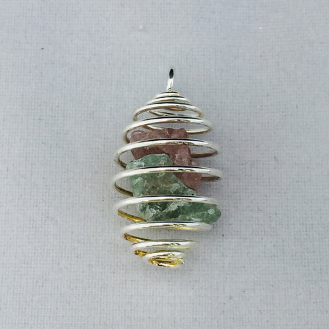 Emerald and Cherry Quartz Pendant-The Lemurian Rose