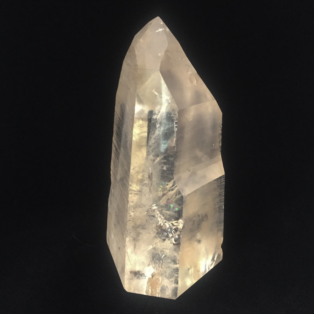 Partially polished self standing lemurian seed crystal point