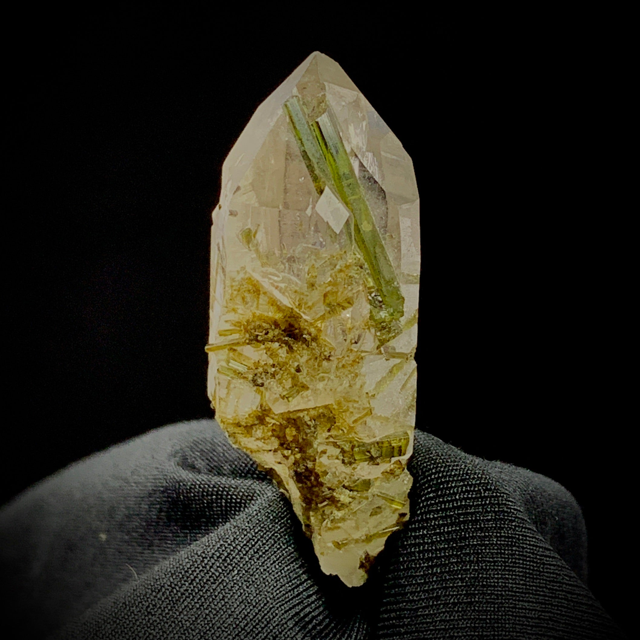 Green Tourmaline in Quartz-The Lemurian Rose-The Lemurian Rose