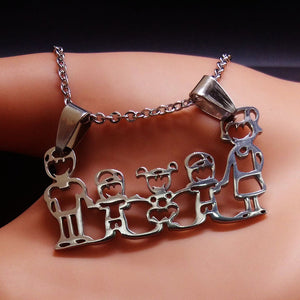 Stainless Steel Family Jewelry Silver Necklace