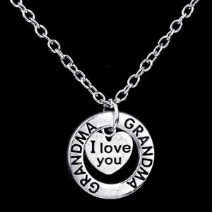 I Love You Grandma Heart Pendant Necklace