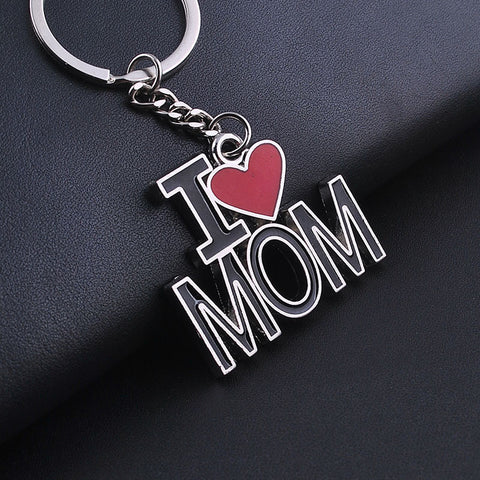 I LOVE MOM Keychains Fashion Metal Key Rings