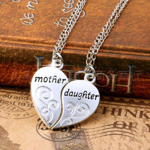 2PC Silver Plated Mother Daughter Necklace