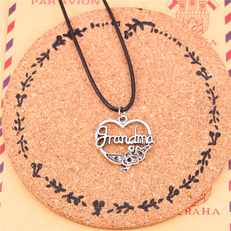 New Fashion grandma heart flower Necklaces