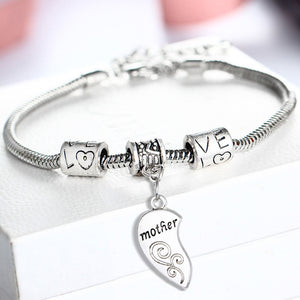 Silver Plated Mother Daughter Heart Bracelet