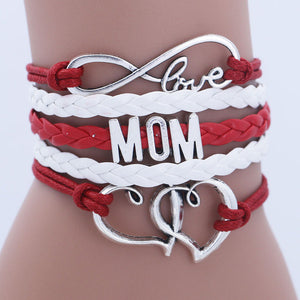 Antique Silver Infinity Love Mom Bracelets