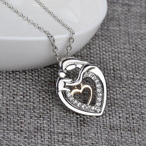 Mom And Baby Crystal Heart Necklace