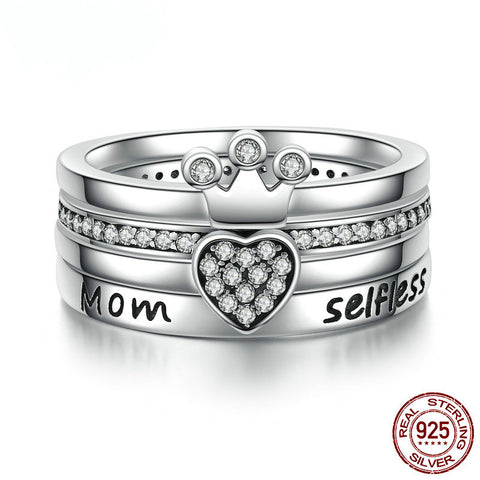 Sterling Silver Stackable Heart Mom Ring