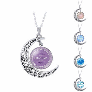 Grandma Glass Moon Pendant Necklace