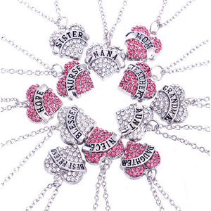 Hot Sale Pink Rhinstone Heart Family Necklace