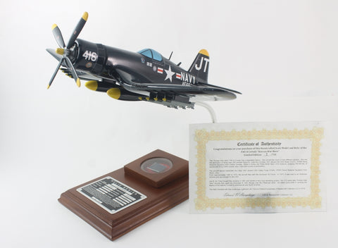 "F4U-4 CORSAIR ""JT"" 1/32 Scale Model with Real Plane Relic"