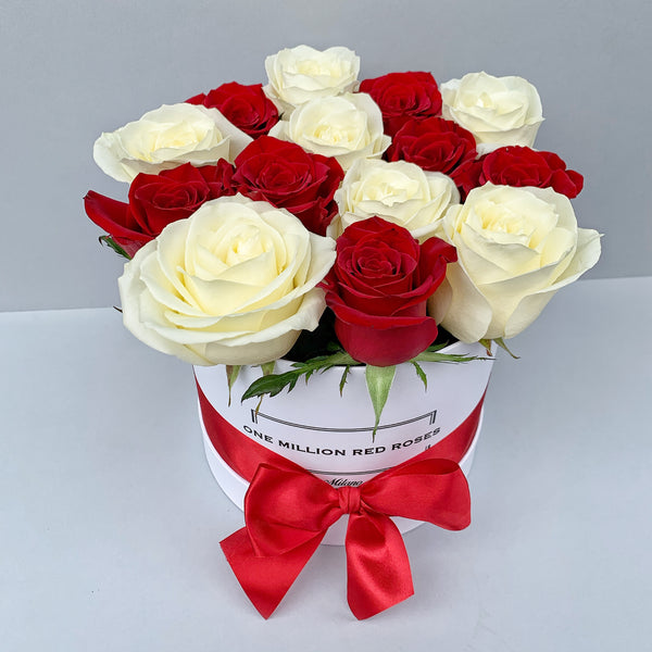 Classic Collection - Small - Rose Rosse e Bianche Scacchi - Scatola Bianca