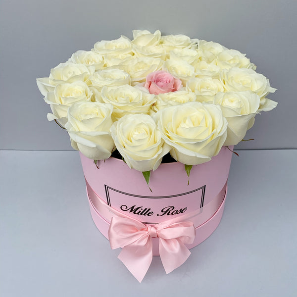 Classic Collection - Medium Box - Rose Rosa e Bianche - Scatola Rosa