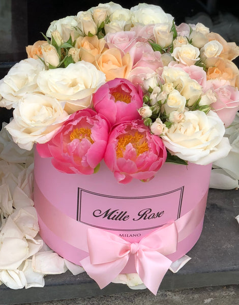 Classic Collection - Medium - Rose Mix Rosa e Peonia - Scatola Rosa